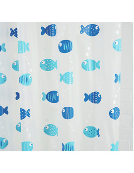 Croydex Wiggly Fish PEVA Vinyl Shower Curtain With Hygiene N Clean