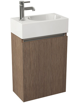 Echo 400mm Soft Oak Single Door Wall Mounted Unit And Basin
