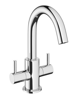 Mike Pro Chrome Twin Lever Monobloc Basin Mixer Tap