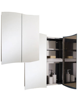 Wave Stainless Steel 600 x 700mm Double Door Mirror Cabinet