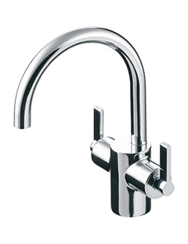 Silver Dual Control Basin Mixer With Pop-Up Waste