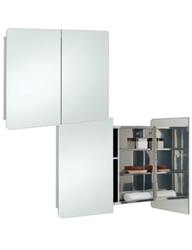 Duo Stainless Steel 800 x 660mm Double Door Mirror Cabinet