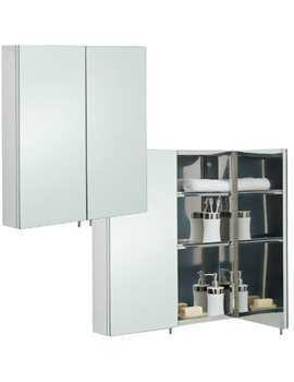 Delta Stainless Steel 600 x 670mm Double Door Mirror Cabinet