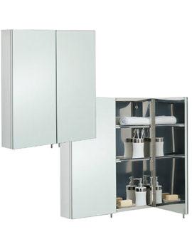 Delta Stainless Steel 600 x 670mm Double Door Mirror Cabinet