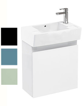 Related Britton Aqua Cabinets Narrow Wall Hung Unit With RH Washbasin