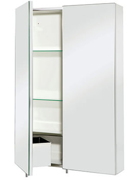 Croydex Colorado Stainless Steel Double Door Large Mirror Cabinet