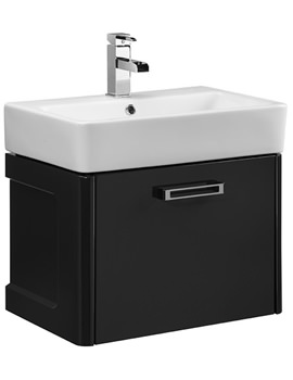 Q60 575mm Graphite Wall Mounted Unit And Ceramic Basin