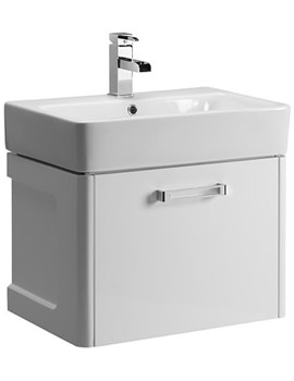 Q60 575mm White Wall Mounted Vanity Unit And Ceramic Basin