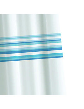 Croydex Blue Bars Textile Shower Curtain - AF285724