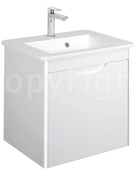 Bauhaus Solo 500mm Single Drawer Wall Hung Basin Unit White Gloss