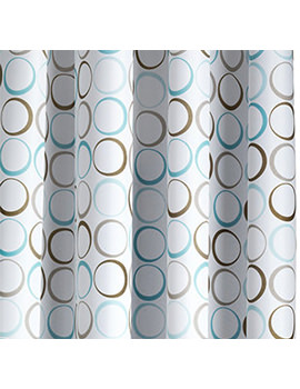 Croydex Teal Rings Textile Shower Curtain - AF583339