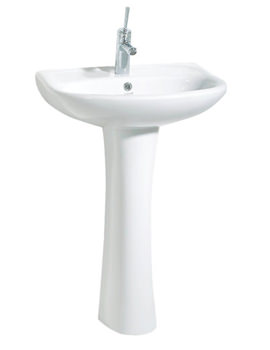 Beo Pitta 550mm Ceramic Basin With Full Pedestal - PA5525