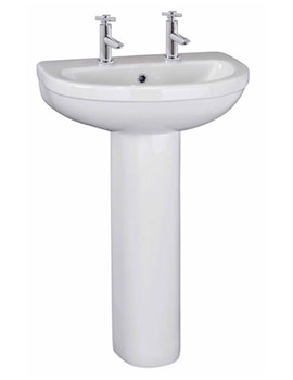 Lauren Brisbane 545mm 2 Tap Hole Basin And Full Pedestal