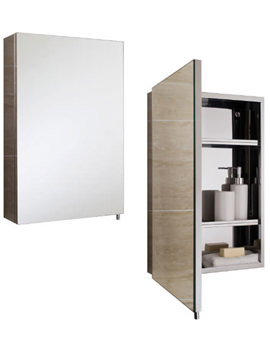 RAK Cube Stainless Steel 400 x 600mm Single Door Mirror Cabinet
