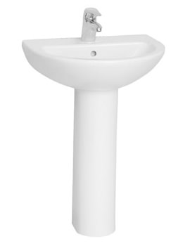 Milton 57cm 1TH Basin With Full Pedestal