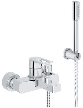 Quadra Wall Mounted Chrome Bath Shower Mixer Tap With Shower Set