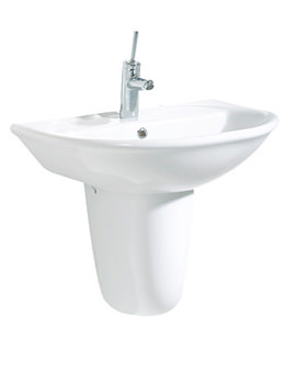 Related Beo Selin 600mm Ceramic Basin With Half Pedestal - SL6026