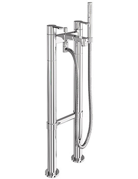 Crystal Bath Shower Mixer Filler Tap With Floor Mounted Legs
