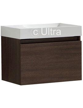 Ultra Zone Dark Oak Single Drawer Cabinet And Basin 600mm