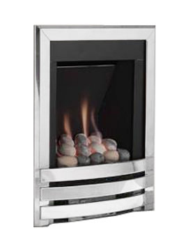Manual Control Contemporary Gas Fire Silver-Pebble - FSRPU0MN