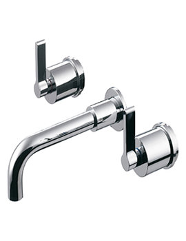 Silver 3 Hole Wall Mounted Basin Mixer With 150mm Spout