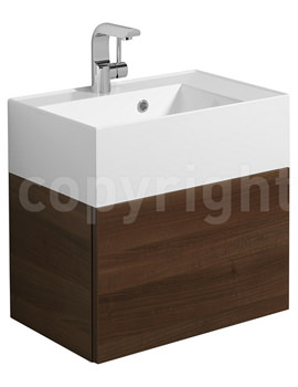 Bauhaus Elite Walnut Wall Hung Single Drawer Basin Unit 500mm