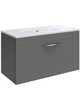 Memoir Grey 600mm Wall Hung 1 Drawer Unit - CAB144