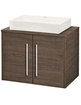 Horizon Mid Sawn Oak 2 Door Vanity And Worktop-FHZ023