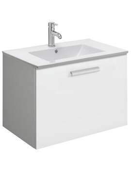 Design Plus 700mm Single Drawer Wall Hung Basin Unit White Gloss