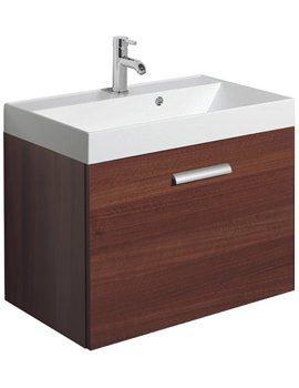 Design Plus 700mm Single Drawer Wall Hung Basin Unit Walnut