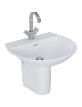 Reserva 1 Tap Hole Basin With Semi Pedestal 550mm - RES55BAS1