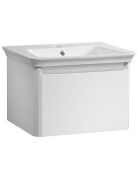 Equate 600mm White Wall Mounted Unit And Ceramic Basin