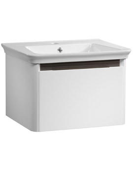 Equate 600mm White-Grey Oak Wall Mounted Unit And Basin