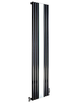 Cove Mirror Vertical Designer Radiator 382 x 1800mm Black