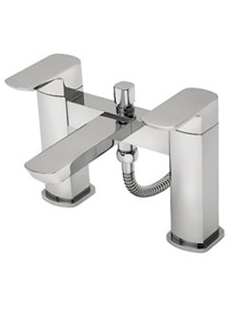 Vamp Pillar Mounted Bath Shower Mixer Tap With Shower Kit