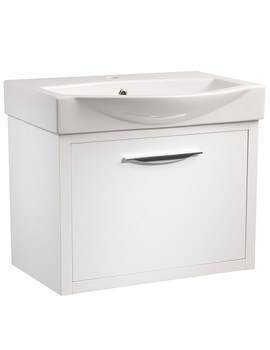 Studio 650mm White Gloss Wall Mounted Unit And Basin