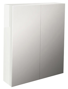 Pura Echo White Gloss Finish Double Door Mirror Cabinet 600mm