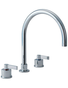Silver Three Hole Kitchen Mixer Tap - E0078AA
