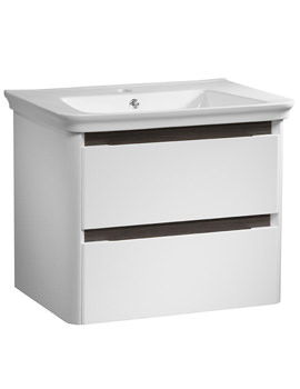 Equate 700mm White-Grey Oak Wall Mounted Unit And Basin