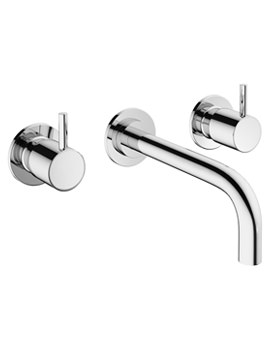 Mike Pro 3 Hole Wall Mounted Chrome Basin Mixer Tap