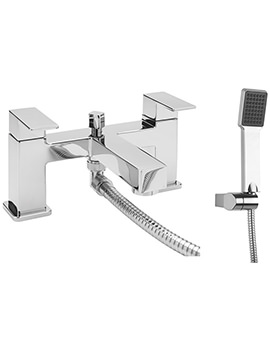 Quanto Deck Mounted Dual Lever Bath Shower Mixer Tap With Kit