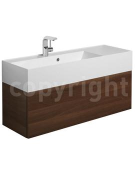 Elite Walnut Wall Hung Single Drawer Basin Unit 1000mm