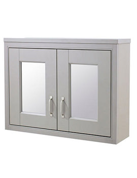Old London 800mm 2 Door Mirror Cabinet  Stone Grey