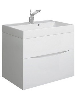 Glide II 700 x 455mm Basin Unit White Gloss - GL7000DWG