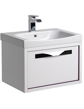 Breathe 600mm Wall Mounted Unit White-Plum Including Basin