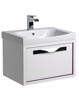 Breathe 600mm Wall Mounted Unit White-Grey Including Basin