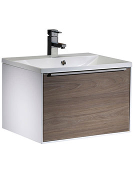 Vista 600mm Wall Mounted Unit White-Dark Elm And Basin