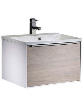 Vista 600mm Wall Mounted Unit White-Light Elm And Basin