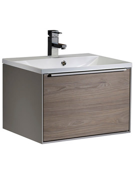 Vista 600mm Wall Mounted Unit Taupe-Dark Elm And Basin