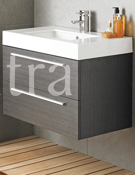 Ultra Silhouette Textured Grey Wall Mounted Basin And Drawer Cabinet 800mm